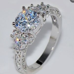 NWT 5.80ct WHITE SAPHIRE 10k wg FILLED RING